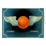 Retro Vintage Kitsch Surreal Flying Orange Crate Card