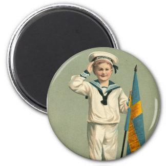 Retro Vintage Kitsch Swedish Postcard Godt Nyyt Ar 2 Inch Round Magnet