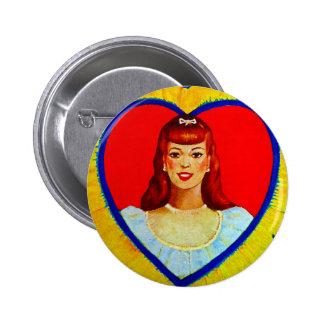 Retro Vintage Kitsch Sweetheart Love Heart Girl Button