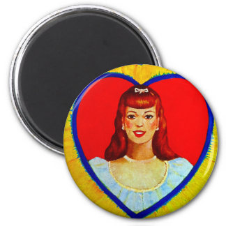 Retro Vintage Kitsch Sweetheart Love Heart Girl Magnet