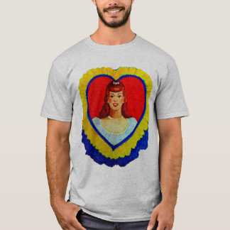 Retro Vintage Kitsch Sweetheart Love Heart Girl T-Shirt