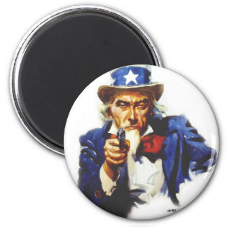 Retro Vintage Kitsch Taxes Uncle Sam with Gun Refrigerator Magnets