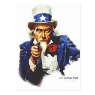 Retro Vintage Kitsch Taxes Uncle Sam with Gun Postcard