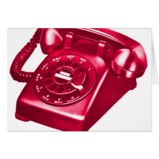 Retro Vintage Kitsch Telephone The Red Phone Greeting Card