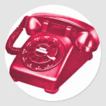 Retro Vintage Kitsch Telephone The Red Phone Classic Round Sticker