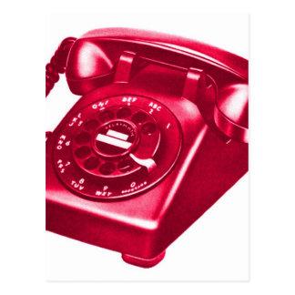 Retro Vintage Kitsch Telephone The Red Phone Postcard