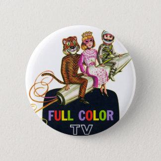 Retro Vintage Kitsch Television TV Kids in Costume Button
