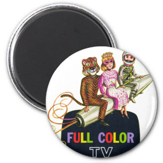 Retro Vintage Kitsch Television TV Kids in Costume 2 Inch Round Magnet