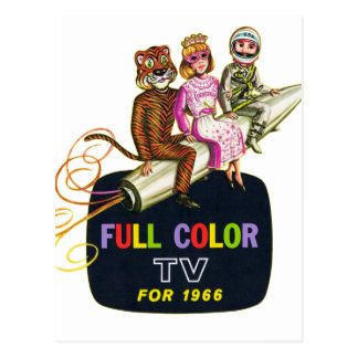 Retro Vintage Kitsch Television TV Kids in Costume Postcard