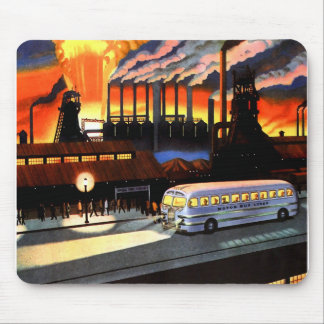 Retro Vintage Kitsch the Bus and American Industry Mouse Pad
