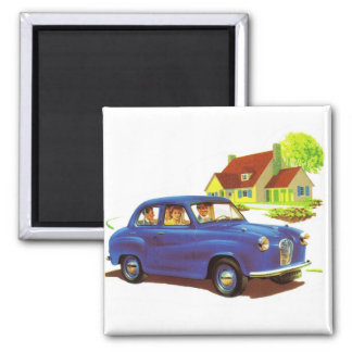 Retro Vintage Kitsch The Great Sunday Drive 2 Inch Square Magnet