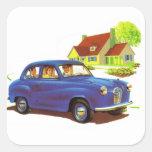 Retro Vintage Kitsch The Great Sunday Drive Square Sticker
