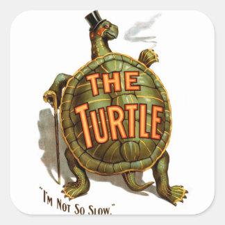 Retro Vintage Kitsch The Turtle I'm Not So Slow Square Sticker