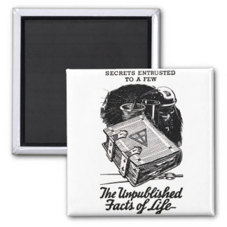 Retro Vintage Kitsch The Unpublished Facts of Life 2 Inch Square Magnet