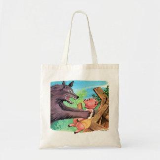 Retro Vintage Kitsch Three Little Pigs & Wolf Canvas Bags