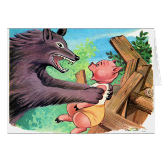 Retro Vintage Kitsch Three Little Pigs & Wolf Cards