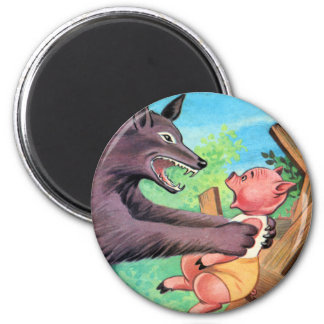Retro Vintage Kitsch Three Little Pigs & Wolf Magnet