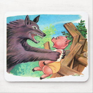 Retro Vintage Kitsch Three Little Pigs & Wolf Mouse Pad