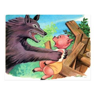 Retro Vintage Kitsch Three Little Pigs & Wolf Postcard