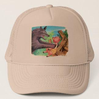 Retro Vintage Kitsch Three Little Pigs & Wolf Trucker Hat
