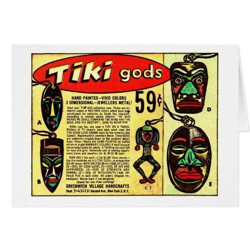 Retro Vintage Kitsch Tiki Gods Comic Ad Card
