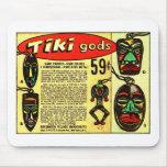 Retro Vintage Kitsch Tiki Gods Comic Ad Mouse Pads
