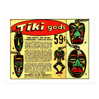 Retro Vintage Kitsch Tiki Gods Comic Ad Postcard