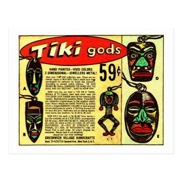curious_goods Retro Vintage Kitsch Tiki Gods Comic Ad Postcard