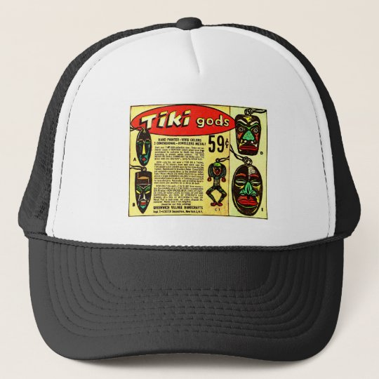Retro Vintage Kitsch Tiki Gods Comic Ad Trucker Hat