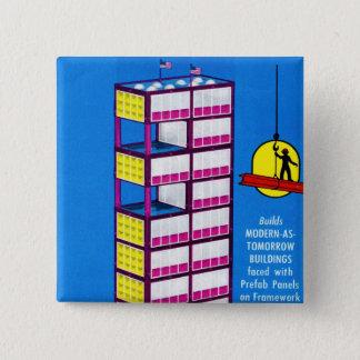 Retro Vintage Kitsch Toy Pre-Fab Construction Kit Pinback Button