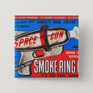 Retro Vintage Kitsch Toy Smoke Ring Gun Ad Button