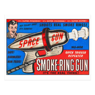 Retro Vintage Kitsch Toy Smoke Ring Gun Ad Postcard