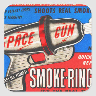 Retro Vintage Kitsch Toy Smoke Ring Gun Ad Square Stickers