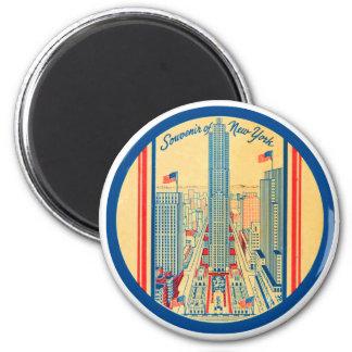 Retro Vintage Kitsch Travel Souvenir of New York 2 Inch Round Magnet