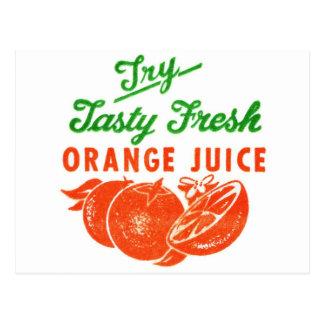 Retro Vintage Kitsch Try Tasty Fresh Orange Juice Postcard