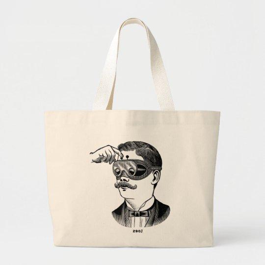 Retro Vintage Kitsch 'Tunnel Vision Goofy Glasses' Large Tote Bag