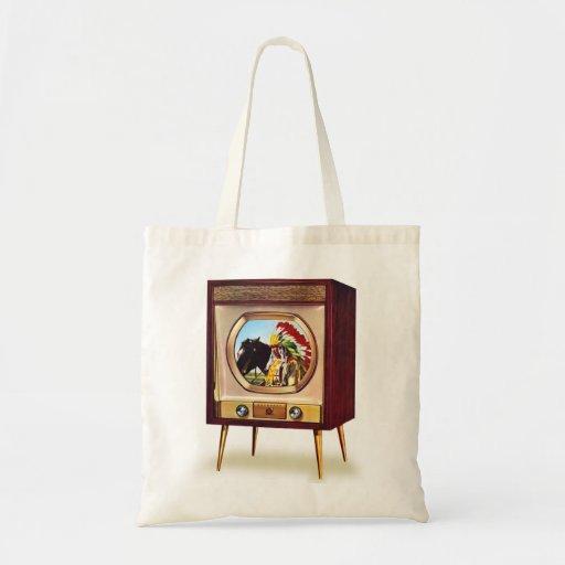 Retro Vintage Kitsch TV Color Television Set Budget Tote Bag