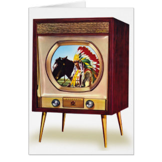Retro Vintage Kitsch TV Color Television Set Greeting Card