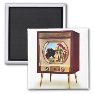 Retro Vintage Kitsch TV Color Television Set 2 Inch Square Magnet