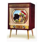 Retro Vintage Kitsch TV Color Television Set Post Card