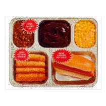 Retro Vintage Kitsch TV Dinner Now Bigger Hot Dog Postcard