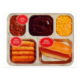 Retro Vintage Kitsch TV Dinner Now Bigger Hot Dog Postcard