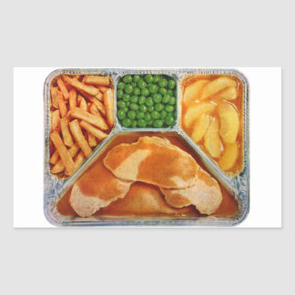Retro Vintage Kitsch TV Dinner Pork Loin Rectangular Sticker