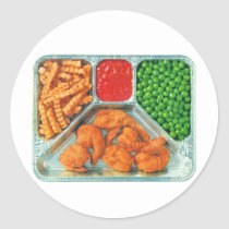 Retro Vintage Kitsch TV Dinner 'Shrimp' Classic Round Sticker