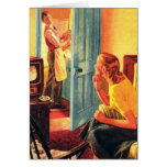 Retro Vintage Kitsch TV Television Early TV Viewer Greeting Card
