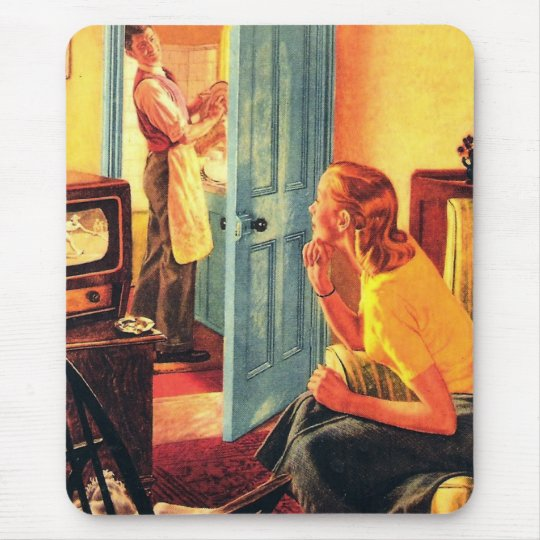 Retro Vintage Kitsch TV Television Early TV Viewer Mouse Pad