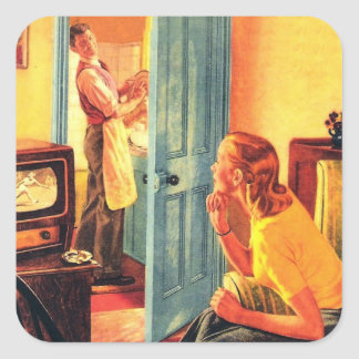 Retro Vintage Kitsch TV Television Early TV Viewer Square Sticker