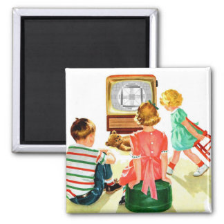 Retro Vintage Kitsch TV Television Kids 2 Inch Square Magnet