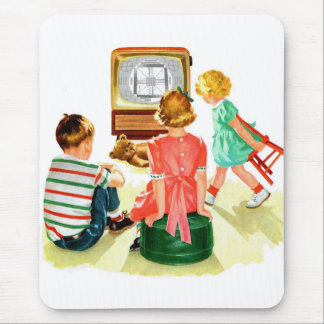 Retro Vintage Kitsch TV Television Kids Mouse Pad