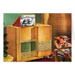 Retro Vintage Kitsch TV Television Radio Card